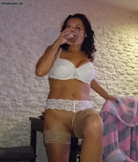 white lingerie,shaved pussy,stockings,milf
