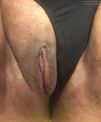 wet pussy,shaved pussy,panties to the side,black panties,dark pussy,clit