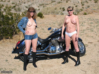Exhibitionist,Lifestyle,Nude Wife,Nude Milf,Girlfriends,Topless,Bare Breasts,Nipples,Pierced Nipples,Desert,Mountains,Outdoors,Sunshine,Roadside,Motorcycle,Denim Jacket,Denim Shorts,Daisey Dukes,Panties,Boots,Sunglasses,Smile,Spread Legs,Reflection Selfie,High Resolution,Plzdntchgmytags