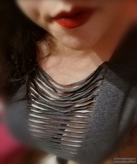 deep cleavage,big tits,big boobs,red lips,long hair,brunette