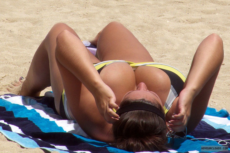 Mature busty beach