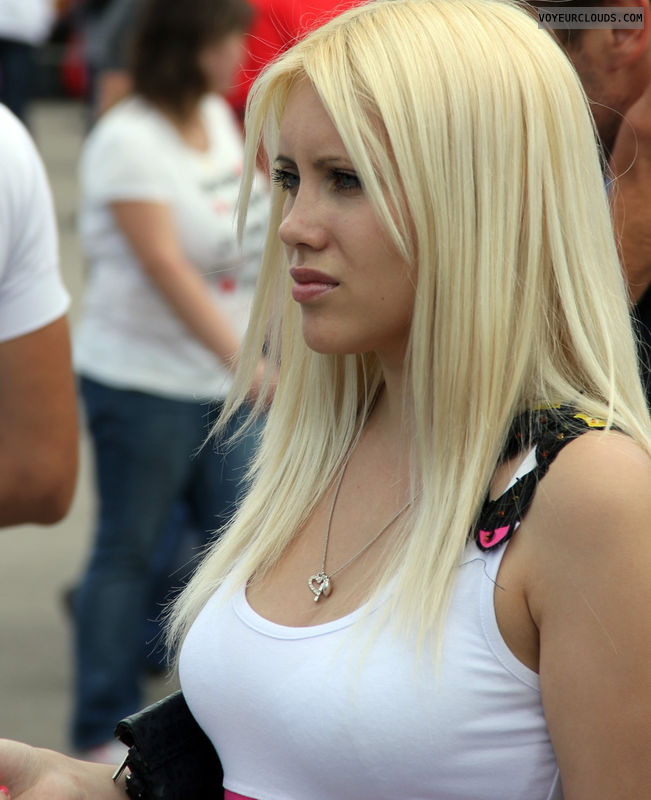 sexy face, young woman, blonde, white top, busty, candid woman