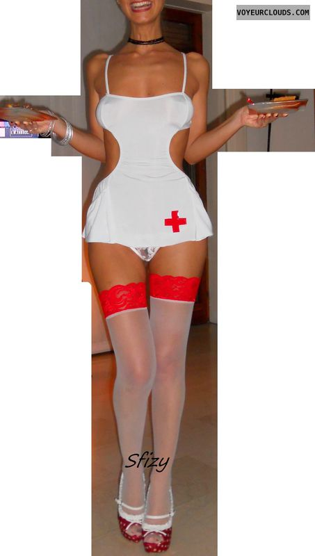 Sfiziosa, costume, stockings, nurse, high heels