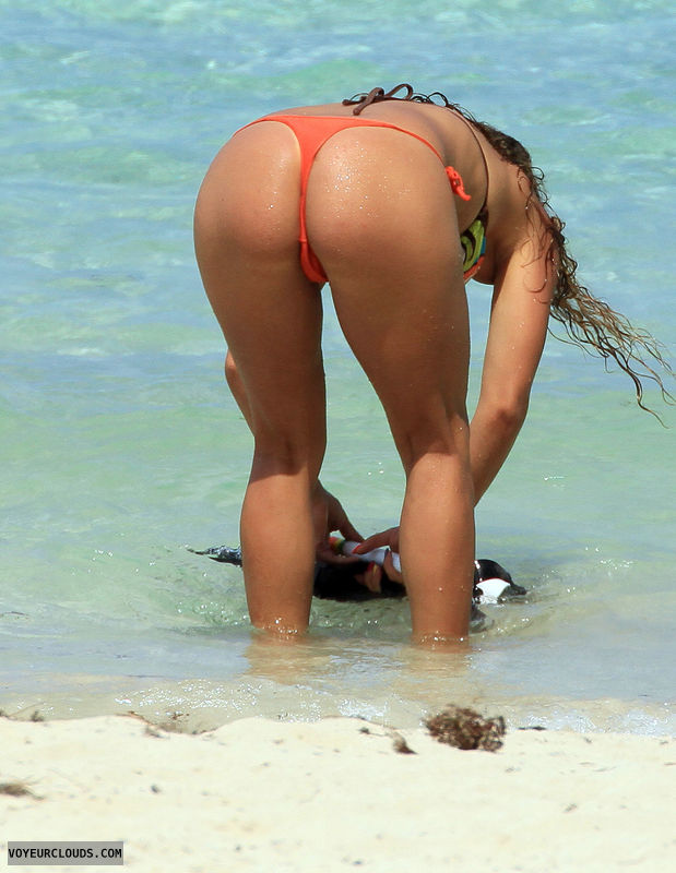 beach voyeur, bikini, ass, thong, rear shot, bent down