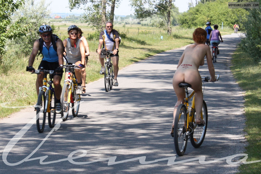 Vienna, nude in public, bicycle, nude biking, red hair