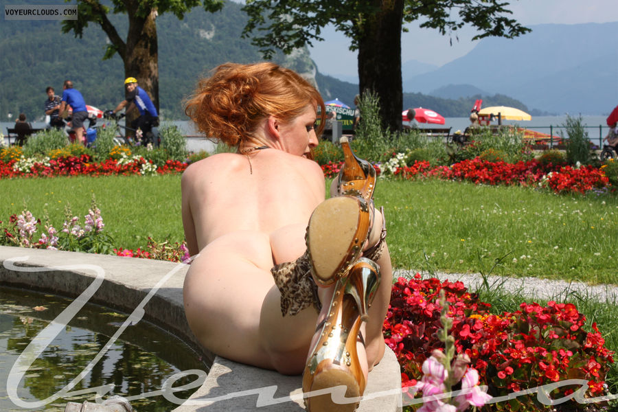 Vienna, nude, outdoor, red hair, high heels, nude in high heels