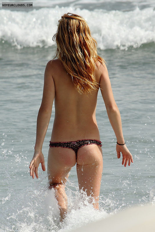 beach voyeur, topless, beach, ass, thong, candid woman
