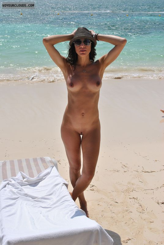 nude milf, beach, standing, sand, nude amateur, nude milf on a beach