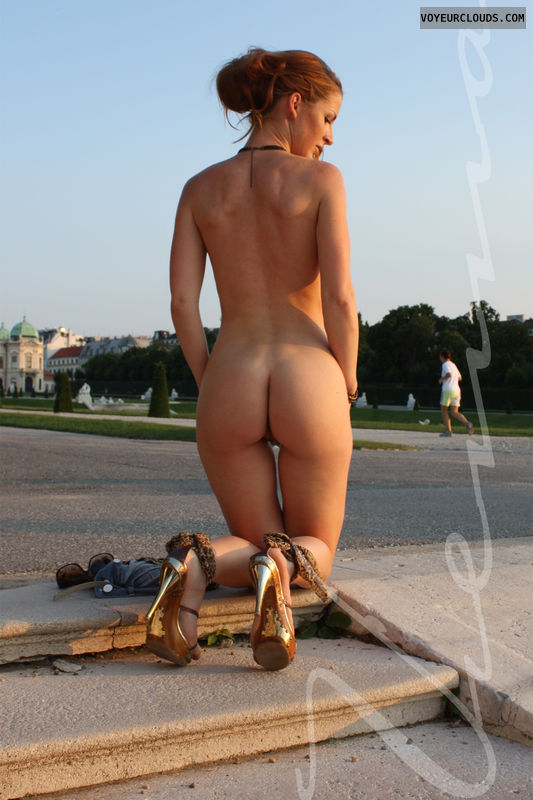 Vienna, redhead, sexy ass, high heels, nude in public