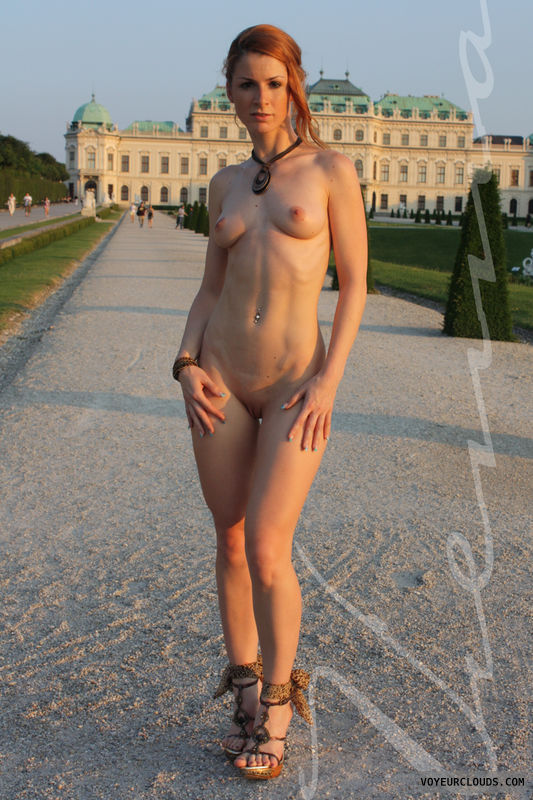Vienna, nude in public, flashing, redhead, sexy, high heels