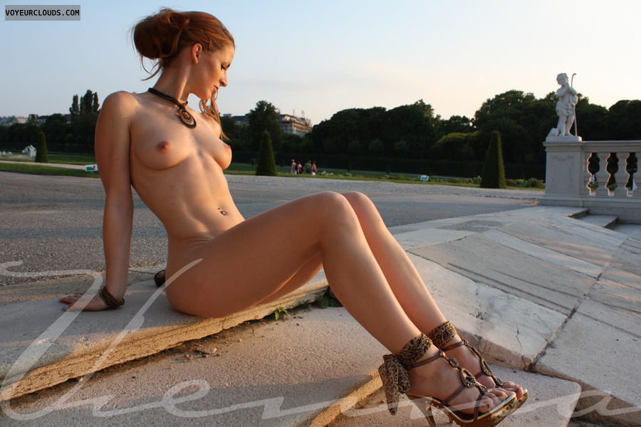 Vienna, nude in public, fantastic light, evening light