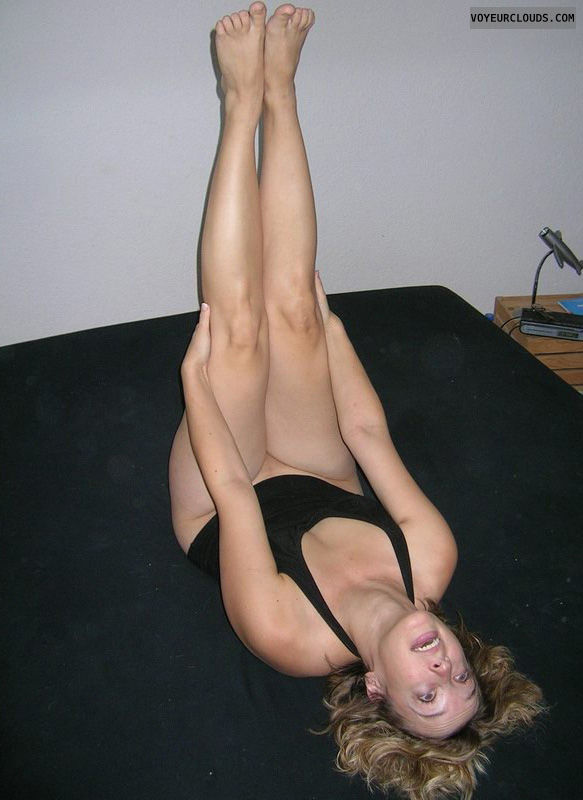 blonde, bed, legs up