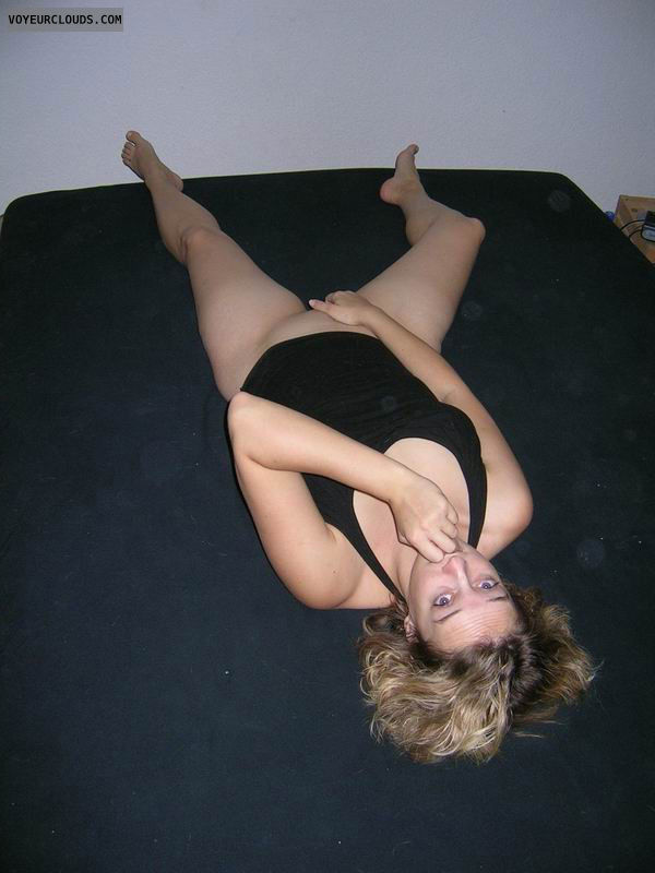 wife pussy, blonde, spread legs, black dress, no panty