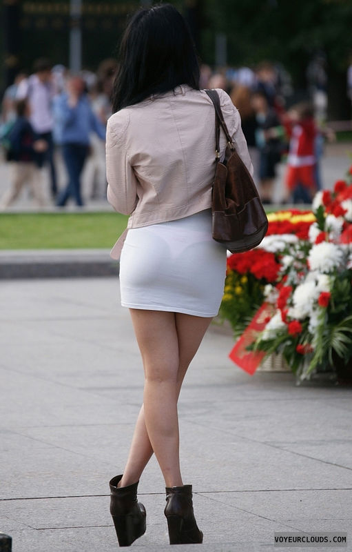 street voyeur, see through, transparent, mini skirt