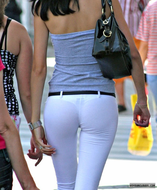 street voyeur, tight pants, white pants, thong, sexy ass