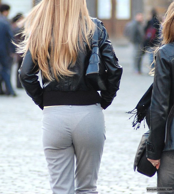 street voyeur, seethrough pants, white thong, ass voyeur