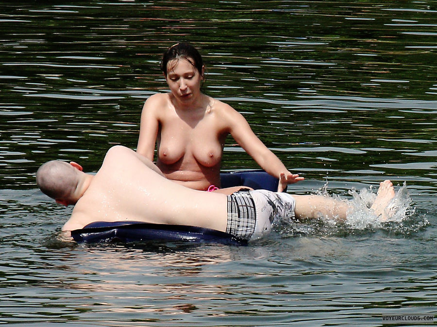 beach voyeur, topless, brunette, big tits, candid woman