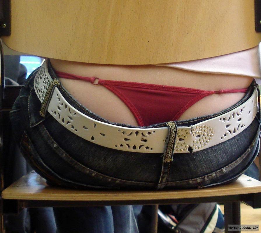 red thong, thong voyeur, low waist jeans, whaletail