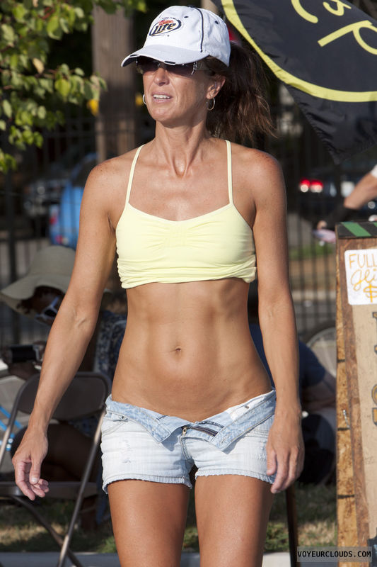 WNBR, fit, bare midriff, tanned, open shorts