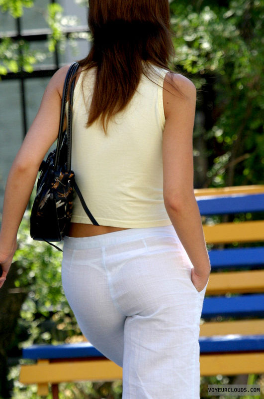 white thong, seethrough pants, sexy ass, tight pants