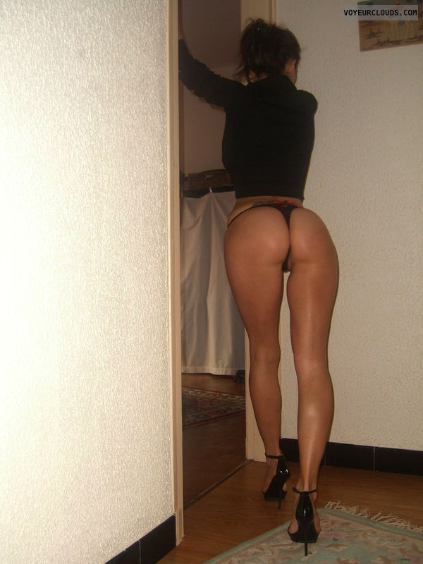 wife ass, black thong, sexy ass, rear view, ass cheeks