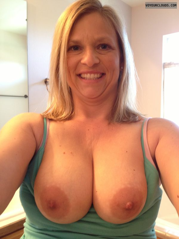 wife selfie, wife tits, blonde, smile, flirty, tits out