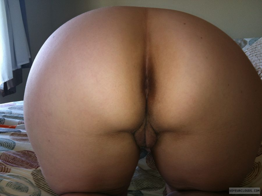 wife pussy, wife butthole, wife ass, blonde, rear view