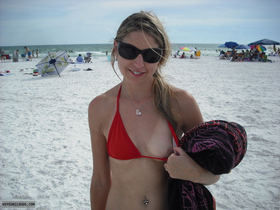 wife tits, flash, public, beach, bikini, red, courtney