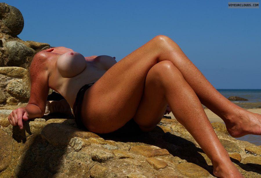 wife tits, wife nipples, outdoors, beach, milf tits