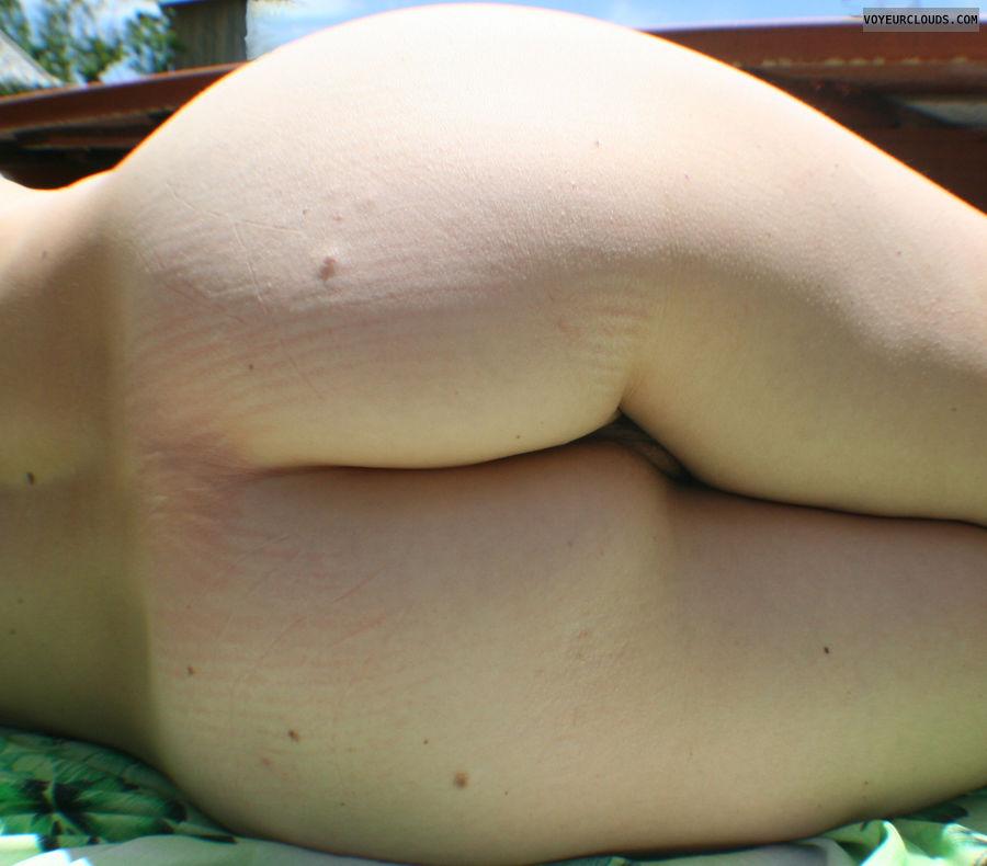 ass, arse, butt, palmy gurl, sun, backyard, pink, outside