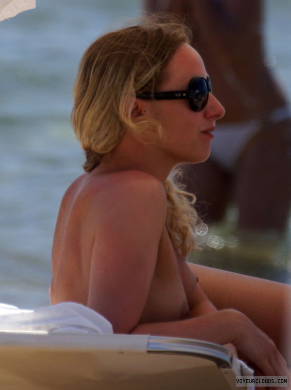 beach voyeur, blonde, topless, sunglasses, small tits