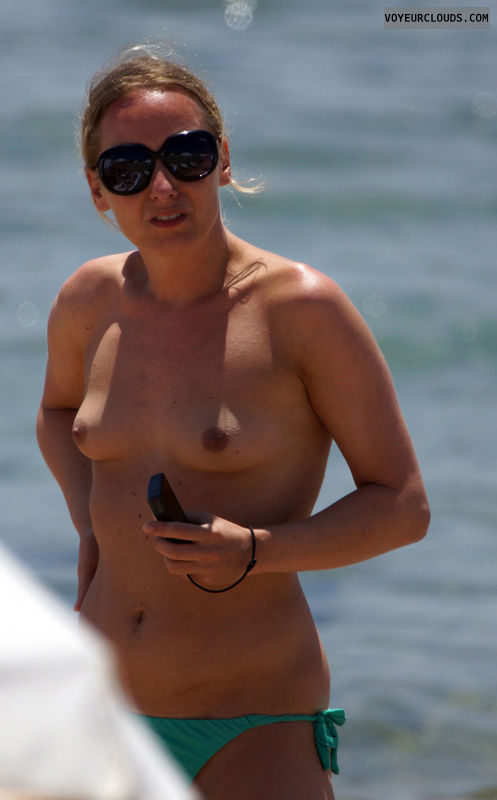 topless beach, small tits, beach tits, sunglasses