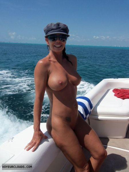 Wife nake on boat