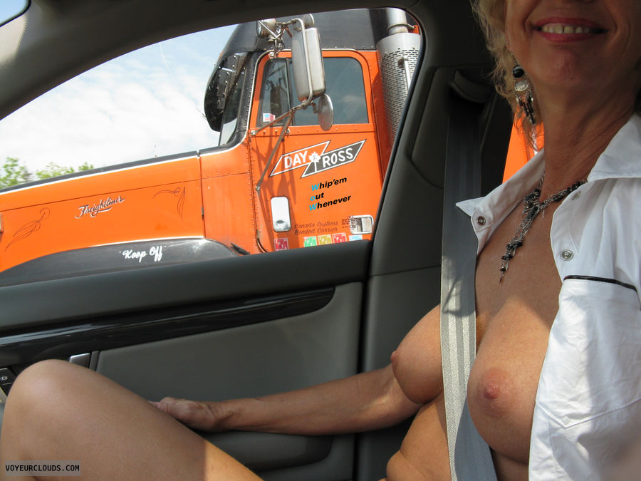 Flashing tits to truckers
