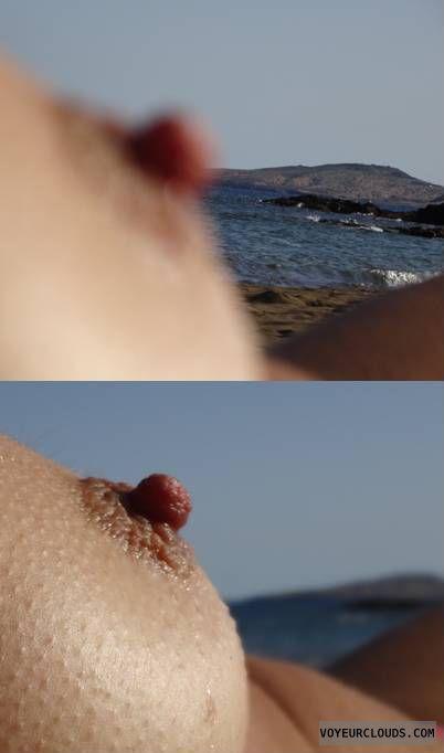 wife tits, wife nipples, landscape, sea, wife nipple