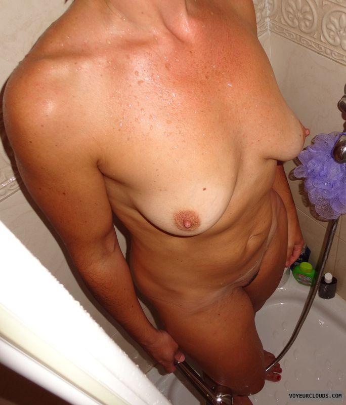 wife tits, shower, brunette, milf tits