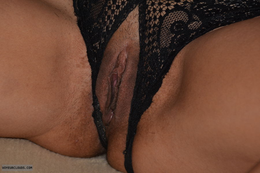 wife pussy, black, close up pussy, lips, wet, legs open