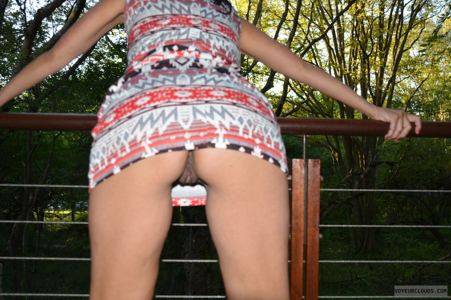 wife pussy, flashing, outdoors, from behind, amateur pussy