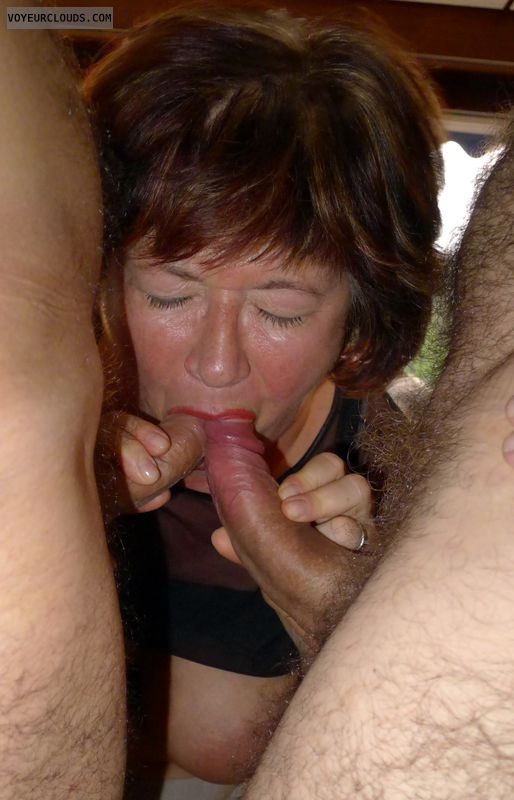 swinger wife, wife blowjob, wife sex, hotwife, blowing two cocks