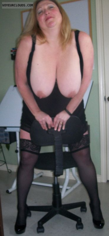 tits out,  very big tits, stockings