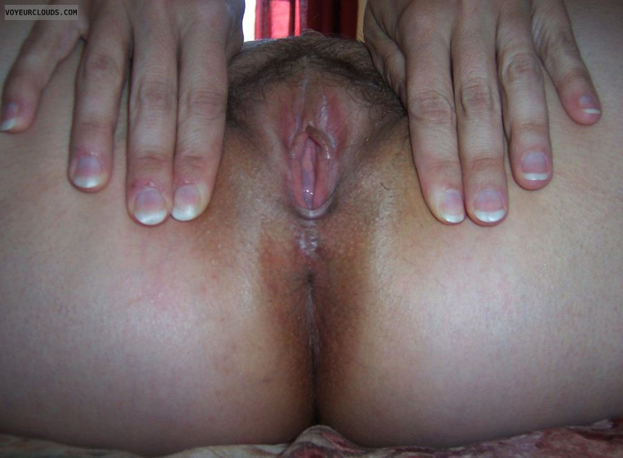 wife pussy, wife butthole, spread, asshole, hairy pussy