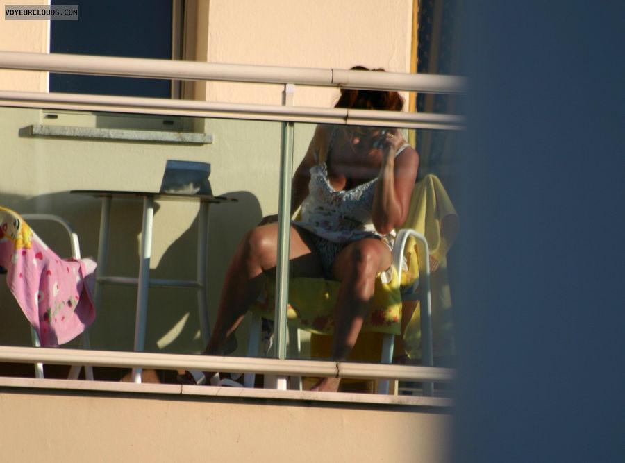 Milf balcony upskirt