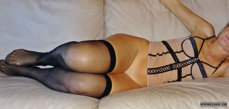 wife, lingerie, stockings, pussy