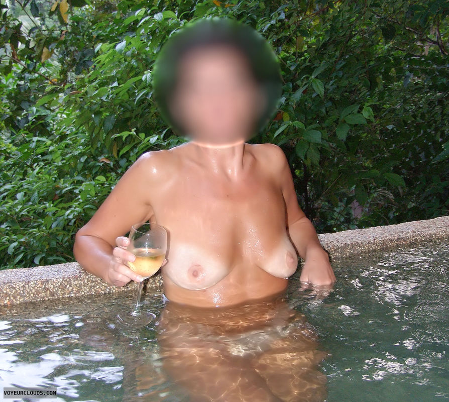 milf tits, tanlines, gilf, wine, white boobs, white tits