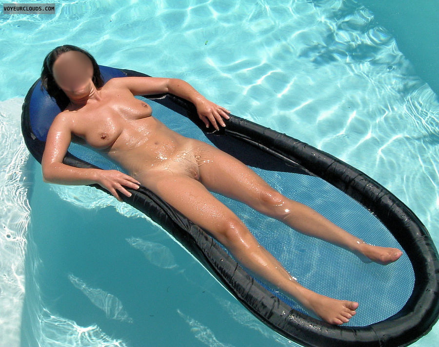 naked wife, nude wife, pool, outdoors