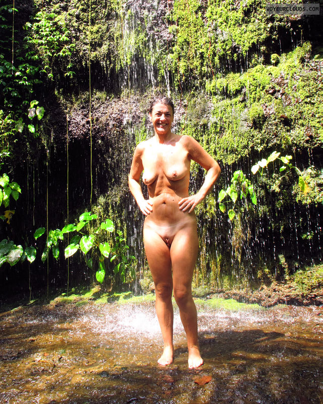 naked wife, nude wife, gilf, outdoors, waterfall, smoot