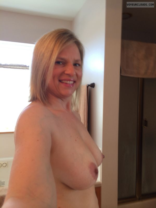 blonde milf, titties, smile, selfie, wife boobs, wife nipples