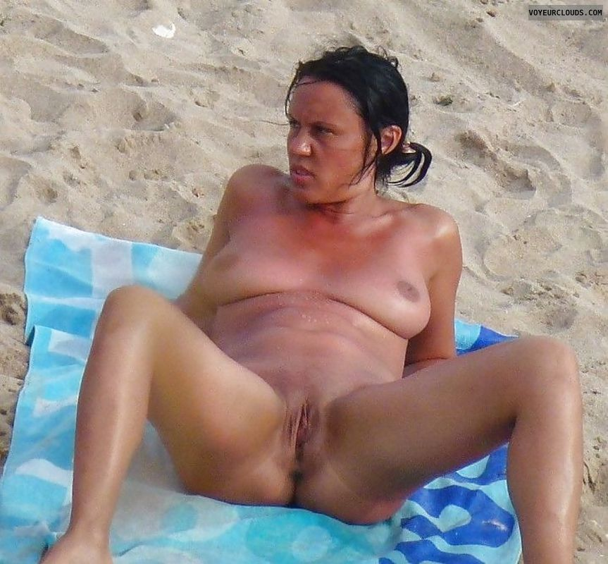 beach voyeur, nude milf, milf tits, milf voyeur, spread legs