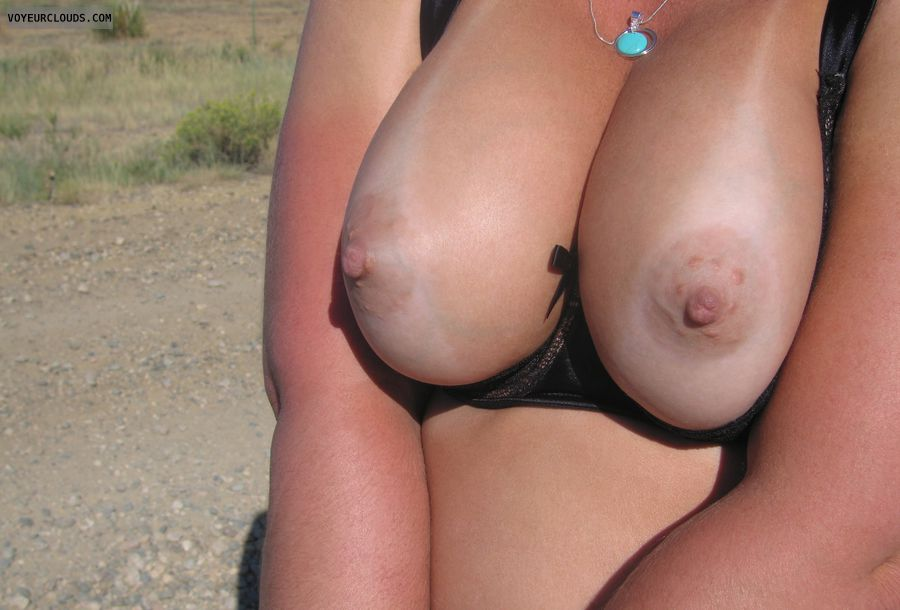 wife tits, sexy wife, wife nipples, big boobies, outdoor pic