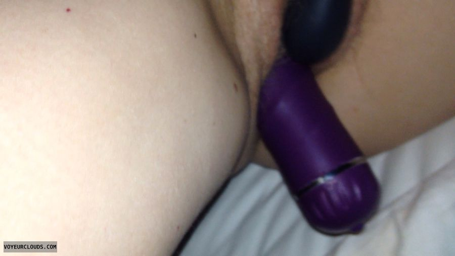 vibrator, battery operated, double, purple, black